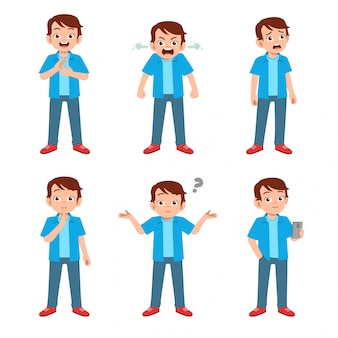 Teenager with many gesture expressions