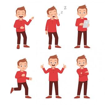 Подросток со многими выражениями жестов