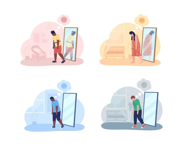 Teenager with overweight problem 2d isolated illustration. mental health issue.