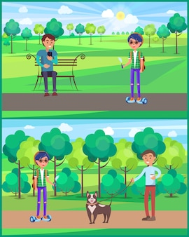 Teenager young male people in park set illustration