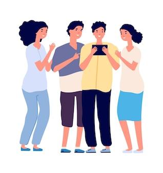 ティーンエイジャーとタブレット。インターネット中毒、オンラインコミュニケーション、教育または会議。一緒に友達。孤立した幸せな男の子女の子ガジェットベクトルイラスト。タブレットのオンライン教育または依存症