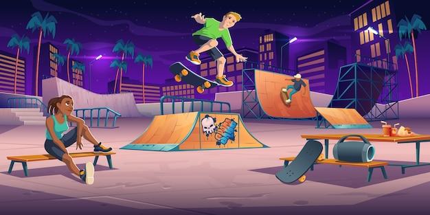 夜のスケートパークのティーンエイジャー、ローラードロームはパイプランプでスケートボードジャンプスタントを実行し、リラックスします。エクストリームスポーツ、グラフィティ、若者の都市文化と十代のストリートアクティビティ、漫画イラスト