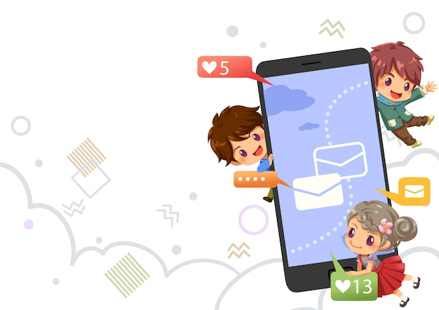 Teenagers chatting and lovely icon on social internet, background vector