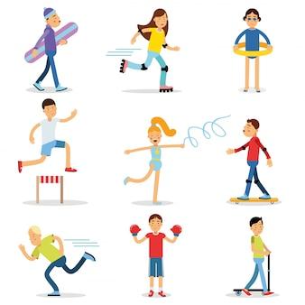 スポーツセットを遊んでいる10代の若者の子供たち。子供の身体活動イラスト