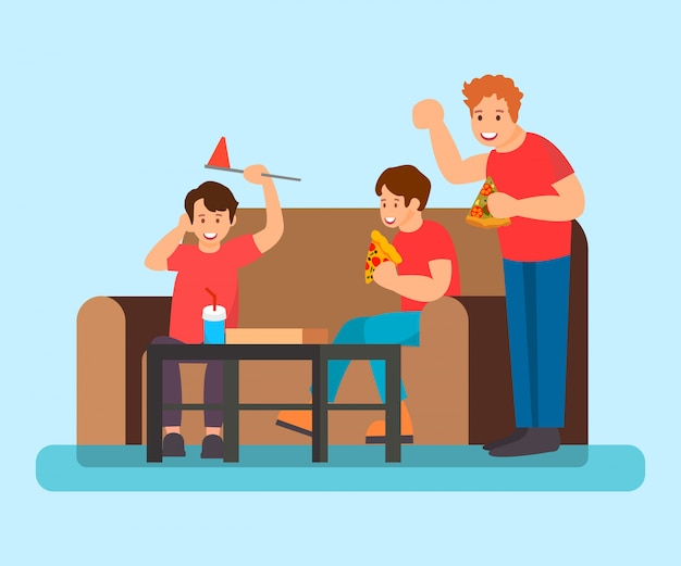 Teenagers eating pizza flat vector illustration