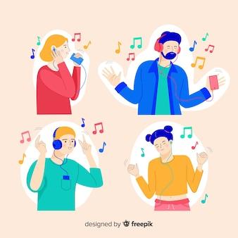 Teenagers enjoying listening to music