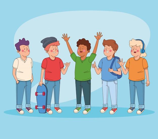 Teenagers friends having fun cartoons