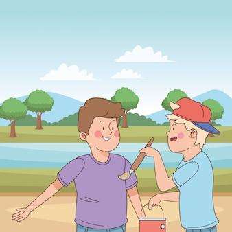 Teenagers friends smiling and having fun cartoon