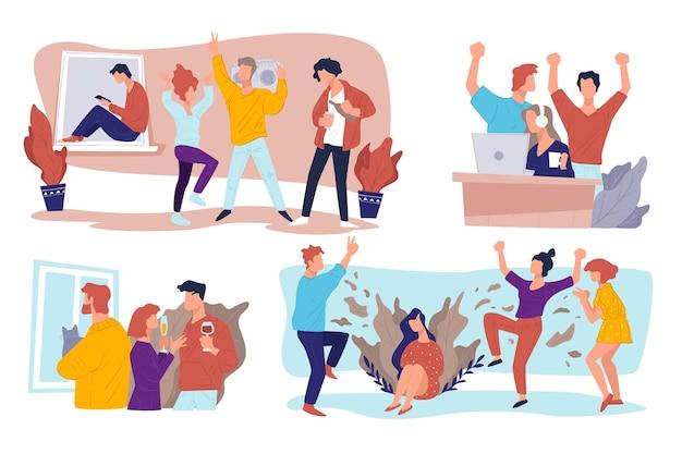 대학에서 파티를 하는 10대들, 캠퍼스에서 즐거운 시간을 보내는 학생들. 함께 휴일을 축하하고, 춤추고 마시고, 음악을 듣고, 비디오 게임을 하는 사람들, 벡터