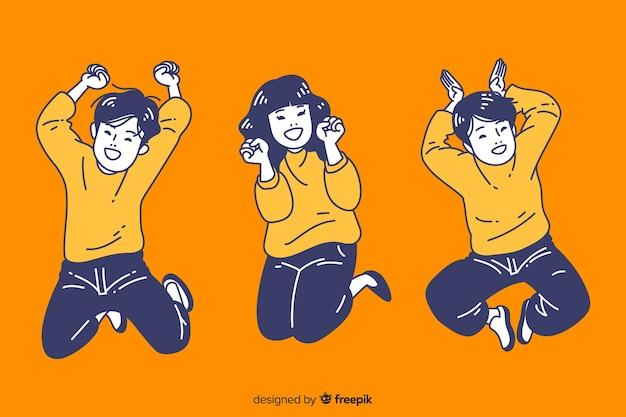 韓国の描画スタイルでジャンプするティーンエイジャー
