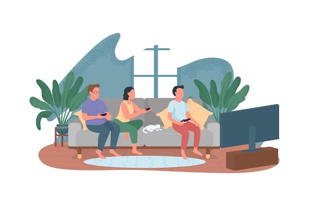 Подростки на диване с контроллерами плоских персонажей на фоне мультфильма.