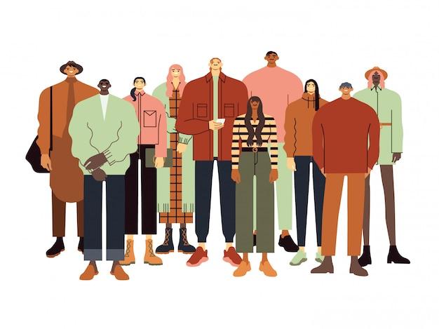 Группа подростков или молодых людей. счастливые подростковые друзья в модном обмундировании, многонациональная команда студентов иллюстрации. колледж, студенты университета в модной одежде 90-х годов