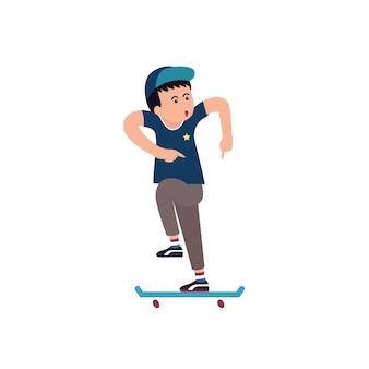 Teenagers playing skateboarding cartoon