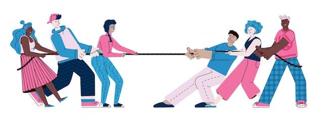 Подростки играют в перетягивание каната - две команды молодых мультипликационных людей