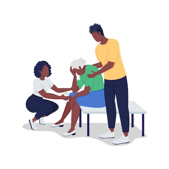 십대들은 노인 여성을 세미 플랫 컬러 벡터 문자로 위로합니다. 흰색에 전신 사람들입니다. 스트레스에 시달리는 할머니. 그래픽 디자인 및 애니메이션에 대한 격리 된 현대 만화 스타일의 그림