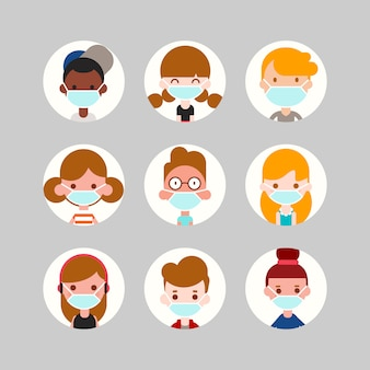 Teens and kids avatar collection. cute children, boys and girls faces wearing medical face mask. flat design style cartoon illustration.