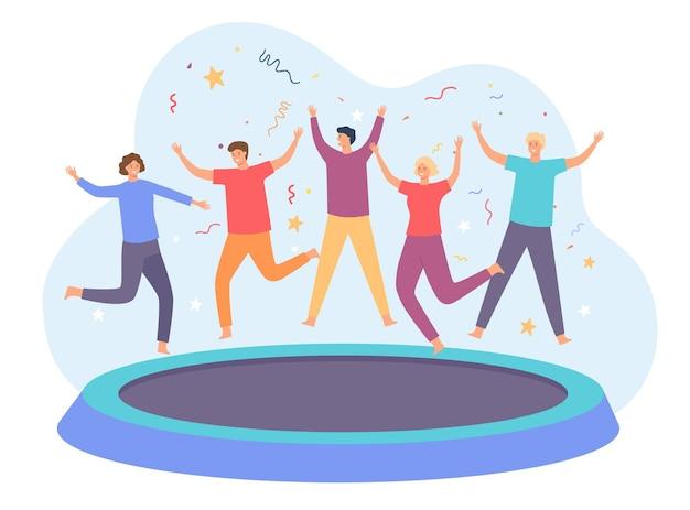 트램폴린 위의 십대들. 점프 하 고 재미 친구의 행복 한 그룹입니다. 활기찬 사람들이 트램폴린을 뛰어 넘습니다. 파티 엔터테인먼트 벡터 개념입니다. 일러스트 행복한 점프와 튀는