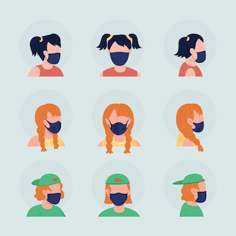 Подростки с черными масками полу-плоский цветной векторный набор аватаров. портрет с респиратором спереди и сбоку. изолированная иллюстрация современного мультяшного стиля для графического дизайна и анимации