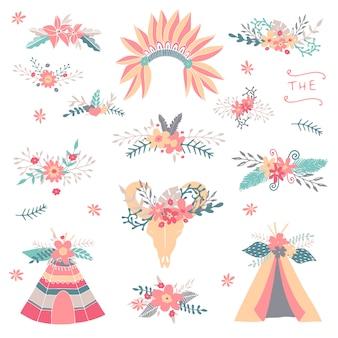 Коллекция цветочных племен. teepee, свадебный цветочный, стрела, венки, перья. приглашение на свадьбу. рисованные племенные элементы с цветами.