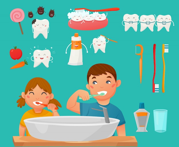 Teeth brushing kids icon set