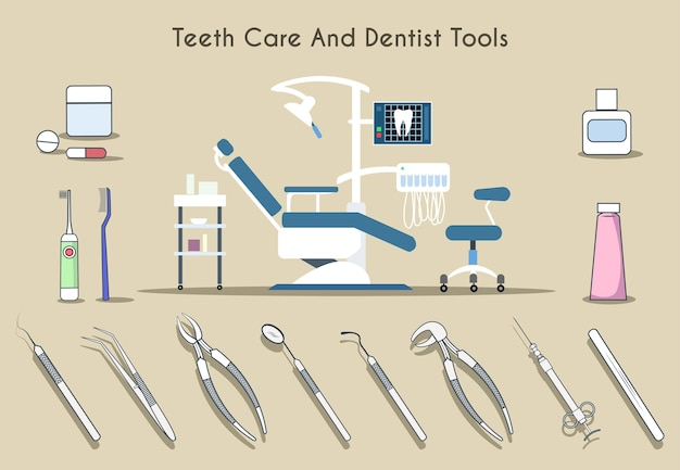 Teeth care and dentist tools set