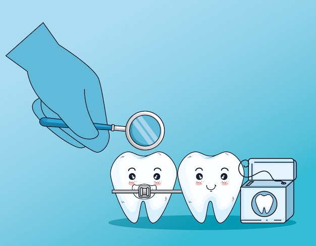 Teeth care with orthodontic and dental floss