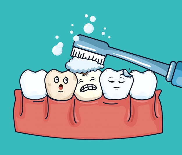 Уход за зубами с зубной щеткой гигиена полости рта