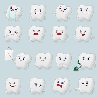 Teeth cartoons set. illustrations for children dentistry about toothache and treatment.