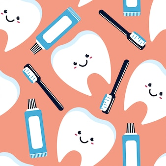 Teeth character, toothpaste and toothbrush seamless pattern.