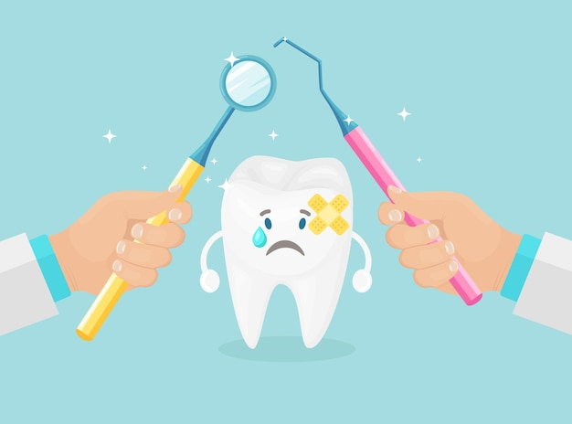 Teeth checkup. dentist hold instruments in hands of examining patient's tooth. stomatology concept.