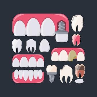 Teeth of dental care health hygiene and medical theme