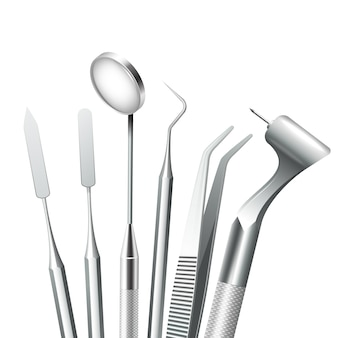 Teeth dental medical equipment steel tools set realistic