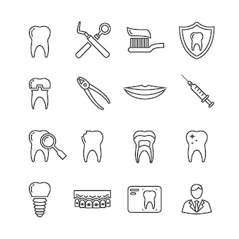 Teeth dentistry medical line icons