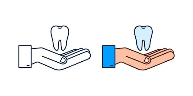 歯のアイコンの歯科医。手に健康な歯。人間の歯。ベクトルイラスト。