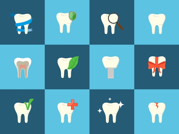 Teeth icons with various elements.