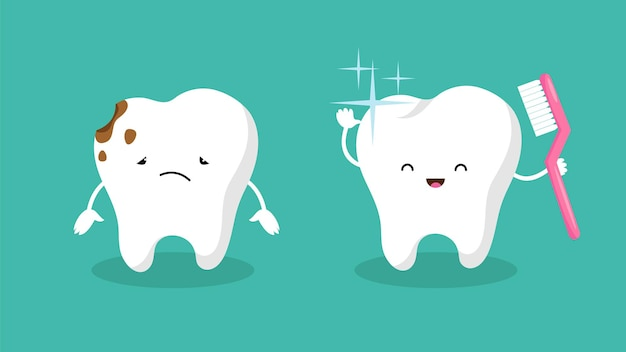 Teeth. plaque teeth, shiny white tooth. mouth hygiene and toothache. dental happy and sad vector characters
