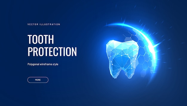 Teeth protection futuristic illustration in polygonal style
