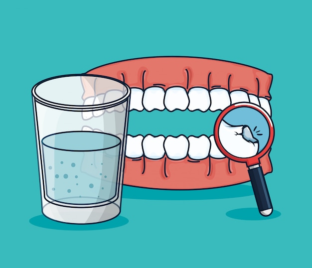 Teeth treatment with mouthwash glass and magnifying glass