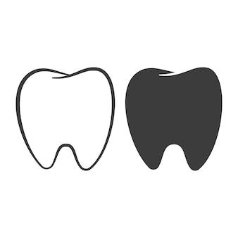 치아 벡터 블랙 아이콘 벡터 세트 흰색 배경에 고립.