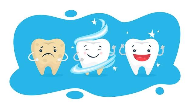 치아 미백 개념. 치아는 치과에서 하얗게됩니다. 보호 및 치료 개념. 삽화
