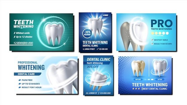 Teeth whitening promotional posters set vector. professional teeth whitening dentist clinic procedure collection of advertising banners. dental care style concept template illustrations
