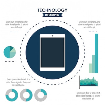 Tehnology infographic with statistics and elements