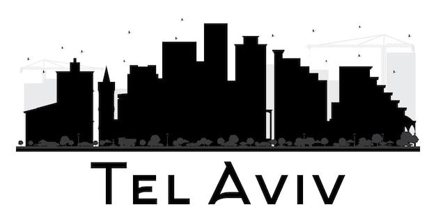 Черно-белый силуэт горизонта города тель-авив. векторная иллюстрация. простая плоская концепция для туристической презентации, баннера, плаката или веб-сайта. городской пейзаж с достопримечательностями.