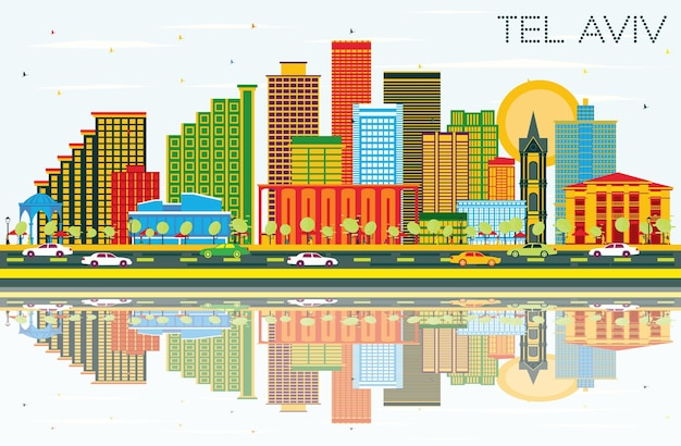 Tel aviv israel city skyline with color buildings, blue sky and reflections. vector illustration. business travel and tourism concept with modern architecture. tel aviv cityscape with landmarks.