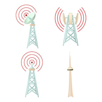 Tele communication tower icon set