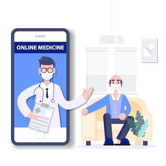 遠隔医療。オンライン医学。医療コンサルタントのコンセプト。コロナウイルスの大流行。ヘルスケアフラットデザインの抽象的な人々。