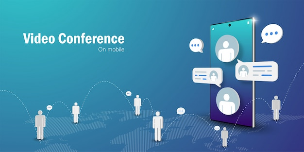 Telecommunication concept, video conference business meeting online on mobile smartphone