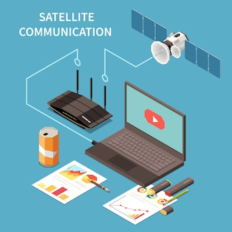 Telecommunication isometric composition with laptop router satellite