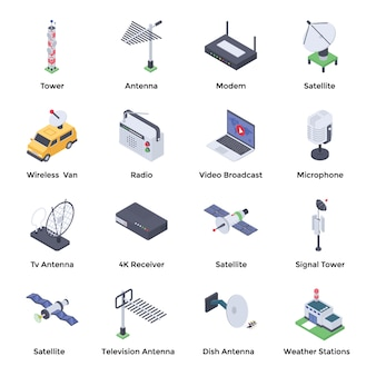 Telecommunication isometric icons pack
