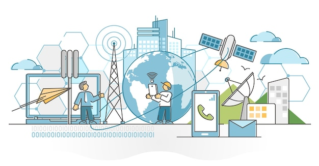 Telecommunications industry with satellite data signal wave outline concept. phone and internet communication connection with antennas network around globe  illustration. cellular radar towers.